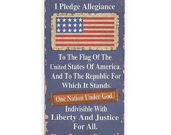 "New Patriotic Wood wall hanging distressed with tin and burlap accents. 4th July Decor.  I Pledge Allegiance Sign 23 1/2""H X 13 1/2""W"