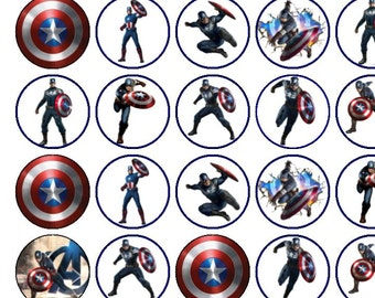 30 Assorted Captain America Premium Rice Paper Cup Cake Toppers