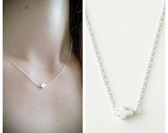 925/000 - necklace Silver Cross Necklace cross Christian Silver 925 - adjustable size - 925 silver sterling Christian cross neckalce