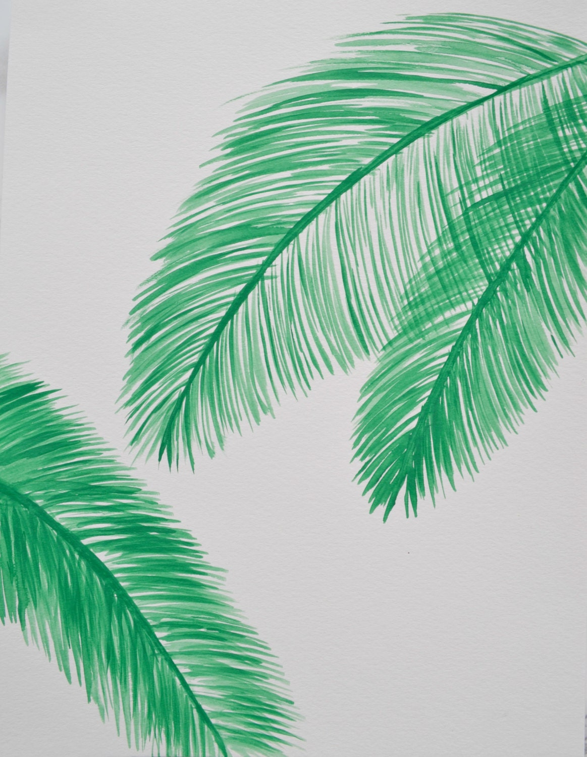 Wall art palm leaves : Hand painted watercolour palm leaves wall art gallery
