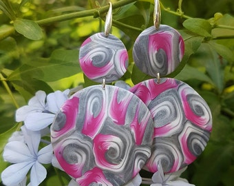 Fimo earrings, silver fuchsia and white
