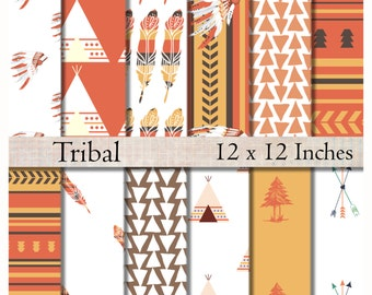 Tribal digital paper pack modern scrapbook paper printable 12 x 12  arrows feathers tipi teepee instant download