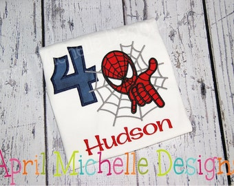 Spiderman Birthday Shirt, Personalized Spiderman, Boys Appliqued Shirt, Boys Birthday Shirt, Boys spiderman