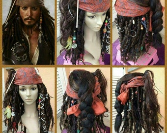 PREORDER Jack Sparrow wig with accessories cosplay costume  Pirates of the Caribbean preorder