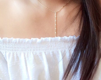 Dainty Y necklace / Dainty lariat necklace / minimalist lariat necklace / simple Y necklace