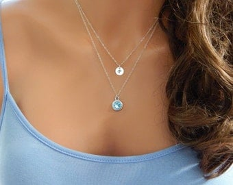 Silver Initial and Birthstone Necklace, Layered Set of Two (2) Necklaces, Girlfriend Gift, Gift for Her [CUD9] [1719]