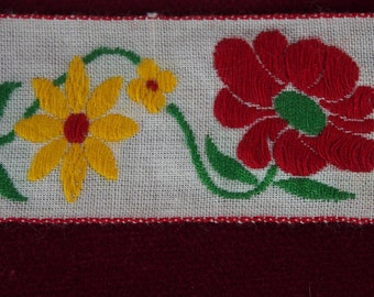 Vintage 1950s Embroidered Ribbon with Flowers- 2 yards 14 inches
