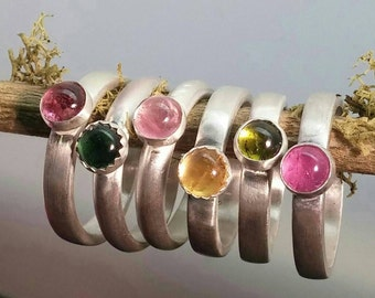 Sterling Silver Tourmaline Stacker Rings