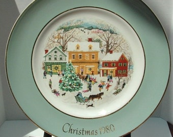 """ZERO SHIPPING! Vintage Avon """"Christmas 1980"""" Eighth Edition Country Christmas Plate Series by Wedgwood (Tunstall)"""