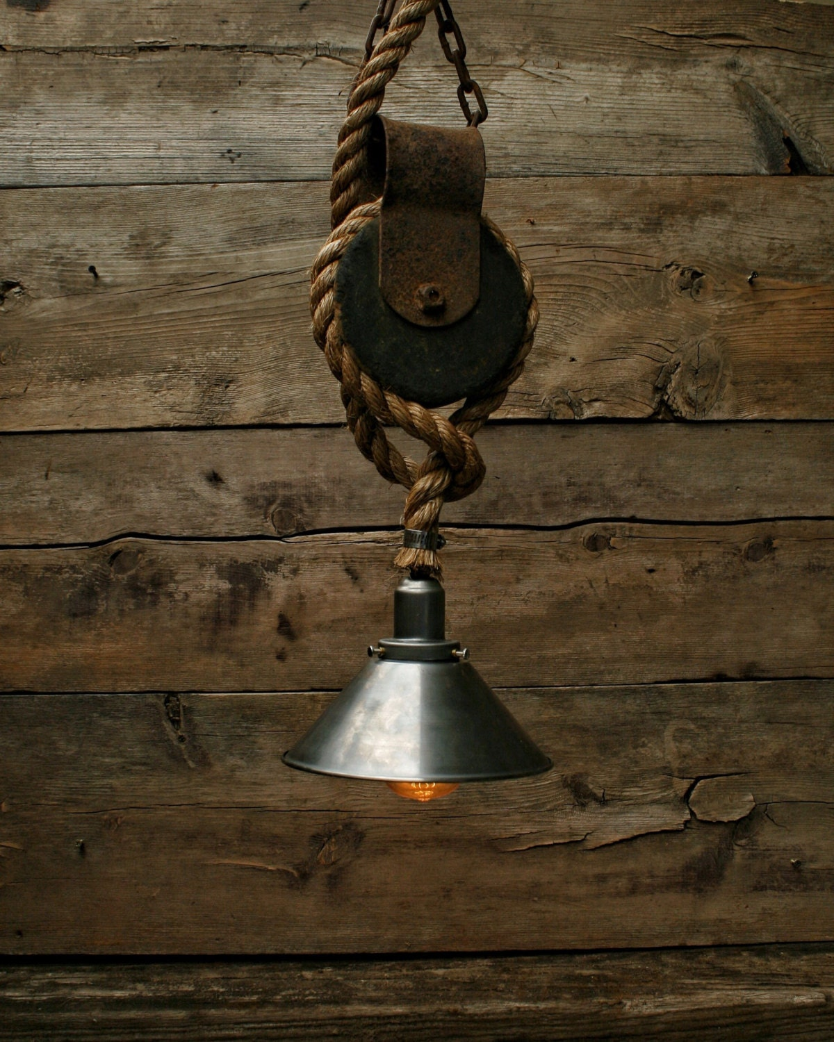 Just Reduced Rustic Handmade 3 Bulb Hanging Light Fixture Or: The Well Pulley Pendant Light Edison Bulb Industrial