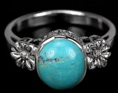 Jane Austen Georgian/Regency 14k White Gold Vermeil Antique Design Turquoise Ring (USA 8 - UK Q) - Truly Venusian