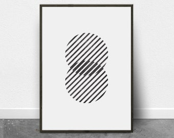 Black and White Geometric Art, Modern Black and White Print, Printable Wall Art, Print Poster, Minimal, Diagonal Lines, Circles, Stripes