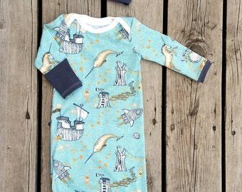 Adventure Awaits Newborn Gown Matching Knot Hat By