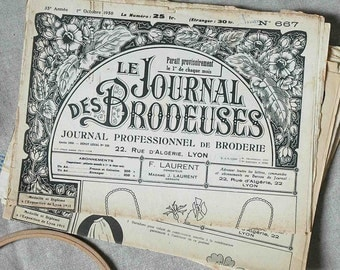 Vintage French embroidery paper Journal