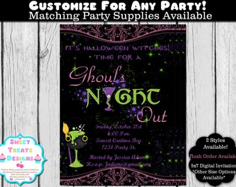 Ghouls Night Out Invitation, Halloween Invitation, Halloween Cocktail Invitation, Girls Night Out Halloween Invitation, Halloween Printable