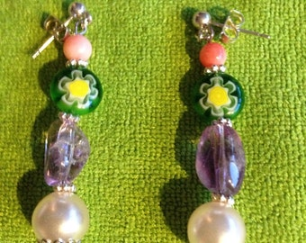 Handmade earrings with amethyst and glass pearls on a sterling silver hook