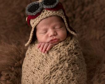 Aviator Hat / Bomber Hat / Pilot's Hat / Baby Boy Beanie / Newborn Photography Prop / Australian Seller