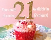 Glitter number cake topper - birthday, wedding anniversary & congratulation cake numbers! 16 21 25 30 40 50 60 70 75 80 90 100 gold silver