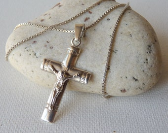Vintage Sterling Silver Cross Pendant, Vintage Religious Crucyfix Necklace, Christian Jewelry, Silver Cross from the 50's,Retro Cross Unisex