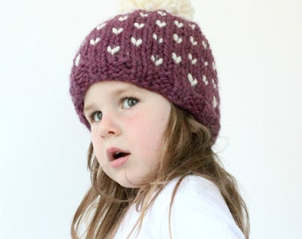 Chunky Knit Hat Pattern - PDF Knitting Pattern, Super Bulky Beanie, Chunky, Fair isle, Pom Pom Hat, Baby, Toddler, Child & Adult Sizes