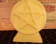 STAR CANDLE,  Pariffin and Bees wax blend, Large candle, fragrance free, pentacle, magick candle, witchcraft