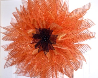 Orange Deco Mesh Flower Wreath