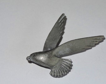Vintage Brooch Pin Bird Hawk in Flight Large Wings Slim and Beautiful Matt Grey Pewter Colour Excellent Condition Simple Design