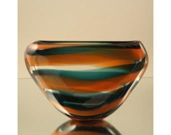Modernist Vase by Floris Meydam for Leerdam, The Netherlands. Dutch Art Glass ''Slingervazen