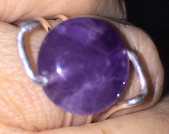 Ring wire silver - Amethyst - sterling silver and amethyst ring wire 15% off Promo Code HOLIDAY15 limited time only