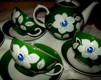 "Vintage Russian fine bone china tea set ""DULEVO"""