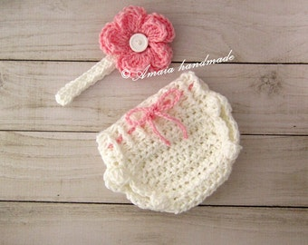 Crochet diaper cover set, diaper cover and headband - Baby girl outfit for Newborn to 12 Months, Great for photo prop or baby shower gift!