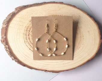 Floating Stone Hoop Earrings