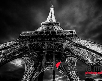 SALE Black and White Eiffel Tower Photograph, Paris, France, Travel and Landscape Photo, Print, Travel,Romance, Wall Art