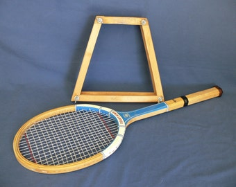 Wood Tennis Racket & Wood Press Vintage 1970s Era, Regent Don Budge Wood Press and Court King Tennis Racket, Decorative and Useable