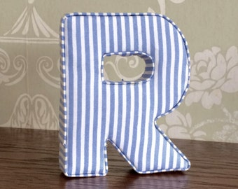 Decorative letters, blue stripe, fabric nursery letters, boys bedroom, personalised, custom decor, boys birthday gift, baby shower decor uk
