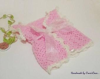 Handcrochet Baby Girl Jacket, Vest For Girl , Pink Vest , Beautiful Decoration , Organza,Babay Jacket For All Seasons