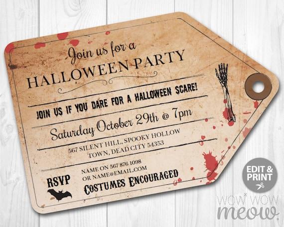halloween invitations gothic party invites printable ticket