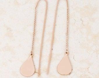 Cleo Teardrop Threaded Earrings | Rose Gold