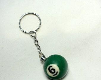 Vintage Billiard Ball Key Chain Number 9, Green Color Key Rings, Key Fob, Keychains, key chains, key chain, Billiard ball pendant