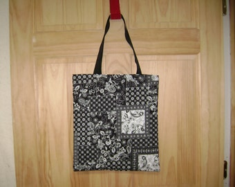 Handmade Tote ~ black with white ~ quilted fabric ~ cotton
