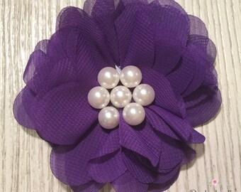"Purple Chiffon Flower- 2.5"" Chiffon Hair Clip"