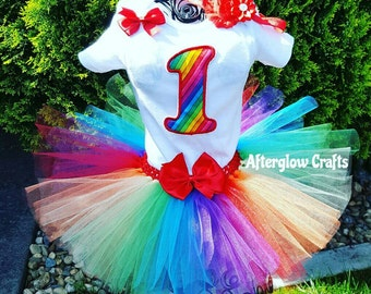 First Birthday Tutu outfit, Birthday Rainbow Tutu, Rainbow Birthday Tutu, Rainbow Tutu, Rainbow Outfit, Rainbow Birthday Outfit, Rainbow Set