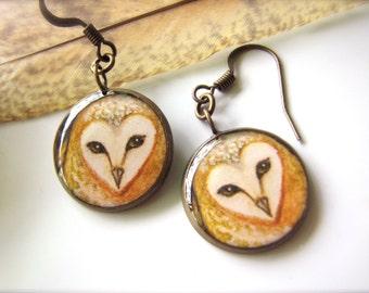 Golden Barn Owl Earrings