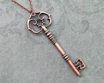 Key Necklace LARGE Skeleton Key Necklace Copper Key Jewelry Steampunk Necklace Victorian Key Charm Key Pendant Necklace Bridesmaid Jewelry