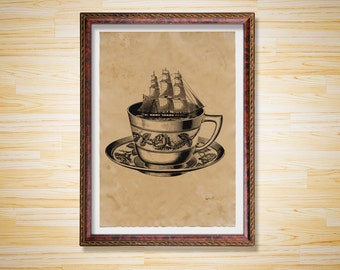 Ship in a cup art print Steampunk poster Nautical Sea decor