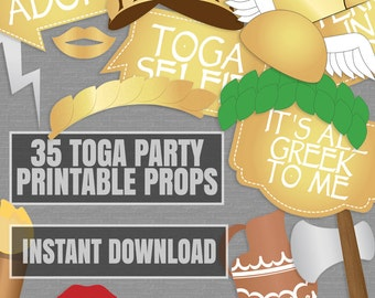 35 Toga Party Props, Toga photo booth printables, gold and white ancient greek party, photobooth toga themed party, instant download