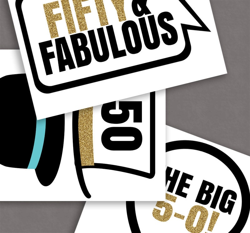 35 50th Birthday Photo Booth Printable Props By
