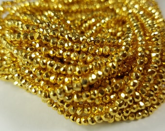 3 mm Gold Pyrite Coated , 13 inches