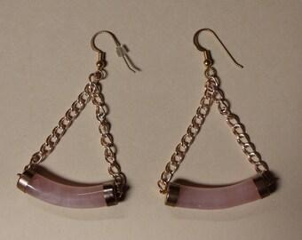 Pink quartz & chain earrings