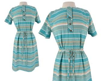 Vintage Dress, 1960s Dress, 60s Dress, Blue Striped Dress, Striped Dress, Scooter Dress, Mod Scooter Dress, 60s Mod Dress, Day Dress, Large